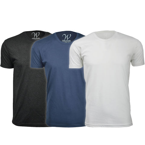 EWC 100BNW 3-Pack Ultra Soft Sueded Crew Neck T-shirt - Black / Navy / White