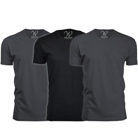 EWC 100HM2B1 3-Pack Ultra Soft Sueded Crew Neck T-shirt - Heavy Metal / Heavy Metal / Black