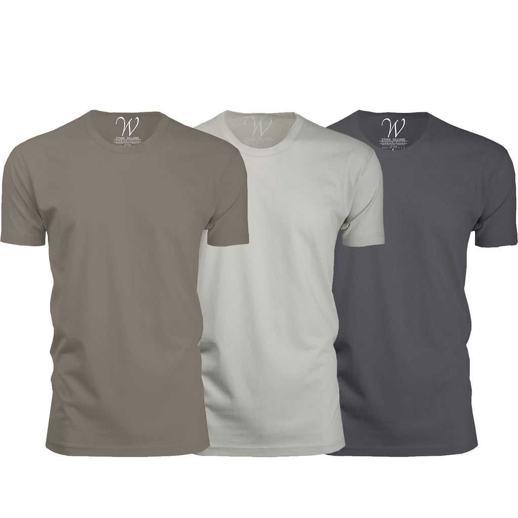 EWC 100HWS 3-Pack Ultra Soft Sueded Crew Neck T-shirt - Heavy Metal / Stone / Sand