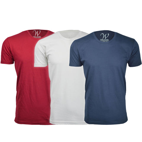 EWC-100RWN 3-Pack Ultra Soft Sueded Crew Neck T-shirt - Red / White / Navy