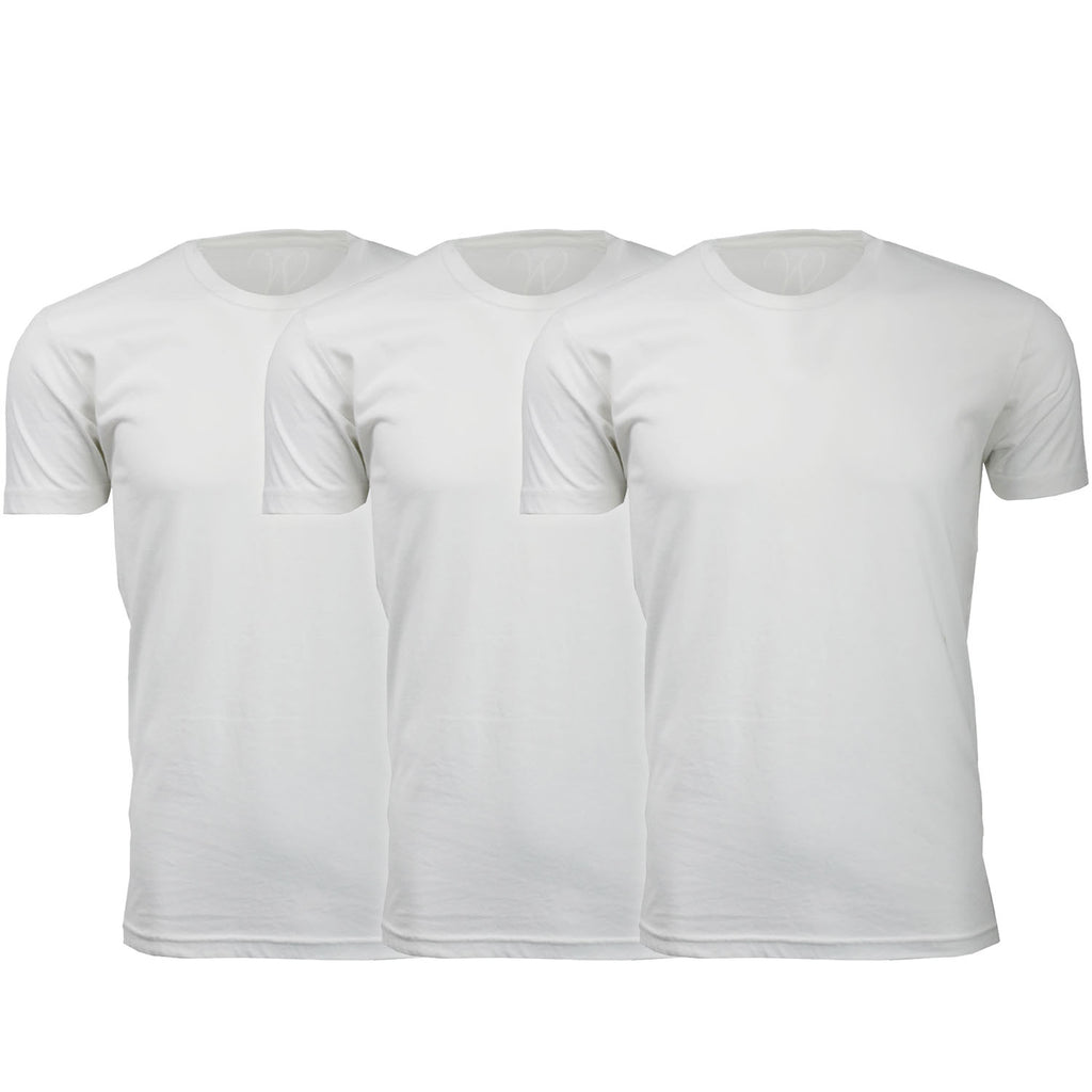 EWC 100WWW 3-Pack Ultra Soft Sueded Crew Neck T-shirt - White / White / White