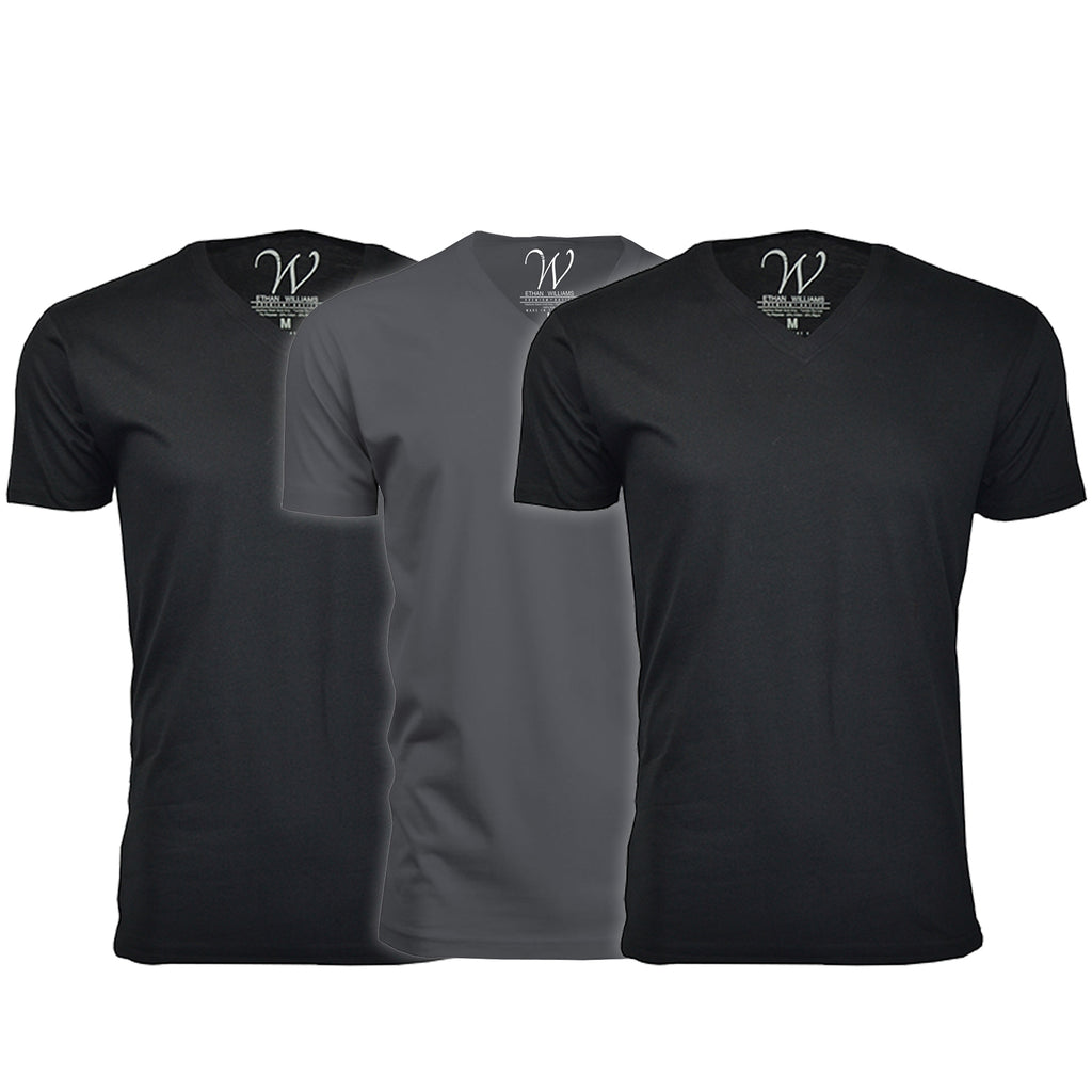 EWC 150B2HM1 3-Pack Ultra Soft Sueded V-Neck T-shirt - Black / Black / Heavy Metal