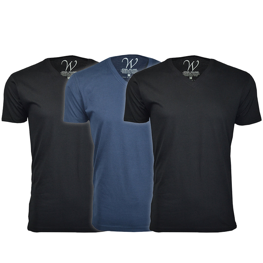EWC 150B2N1 3-Pack Ultra Soft Sueded V-Neck T-shirt - Black / Black / Navy