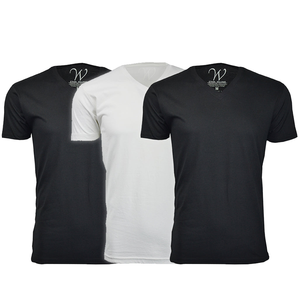 EWC 150B2W1 3-Pack Ultra Soft Sueded V-Neck T-shirt - Black / Black / White