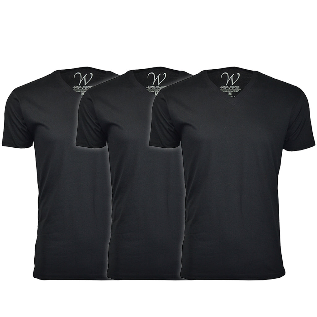 EWC 150BBB 3-Pack Ultra Soft Sueded V-Neck T-shirt - Black / Black / Black