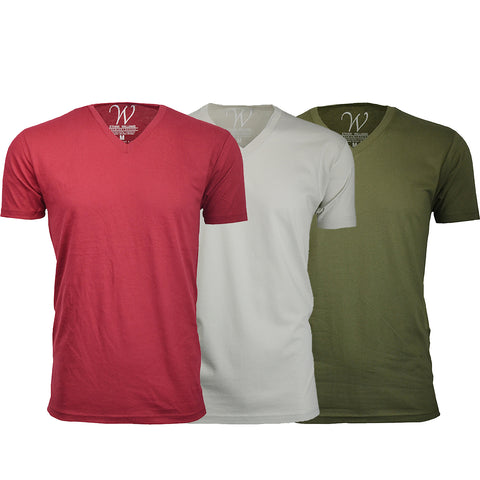 EWC 150BGS 3-Pack Ultra Soft Sueded V-Neck T-shirt - Burgundy / Sand / Military Green