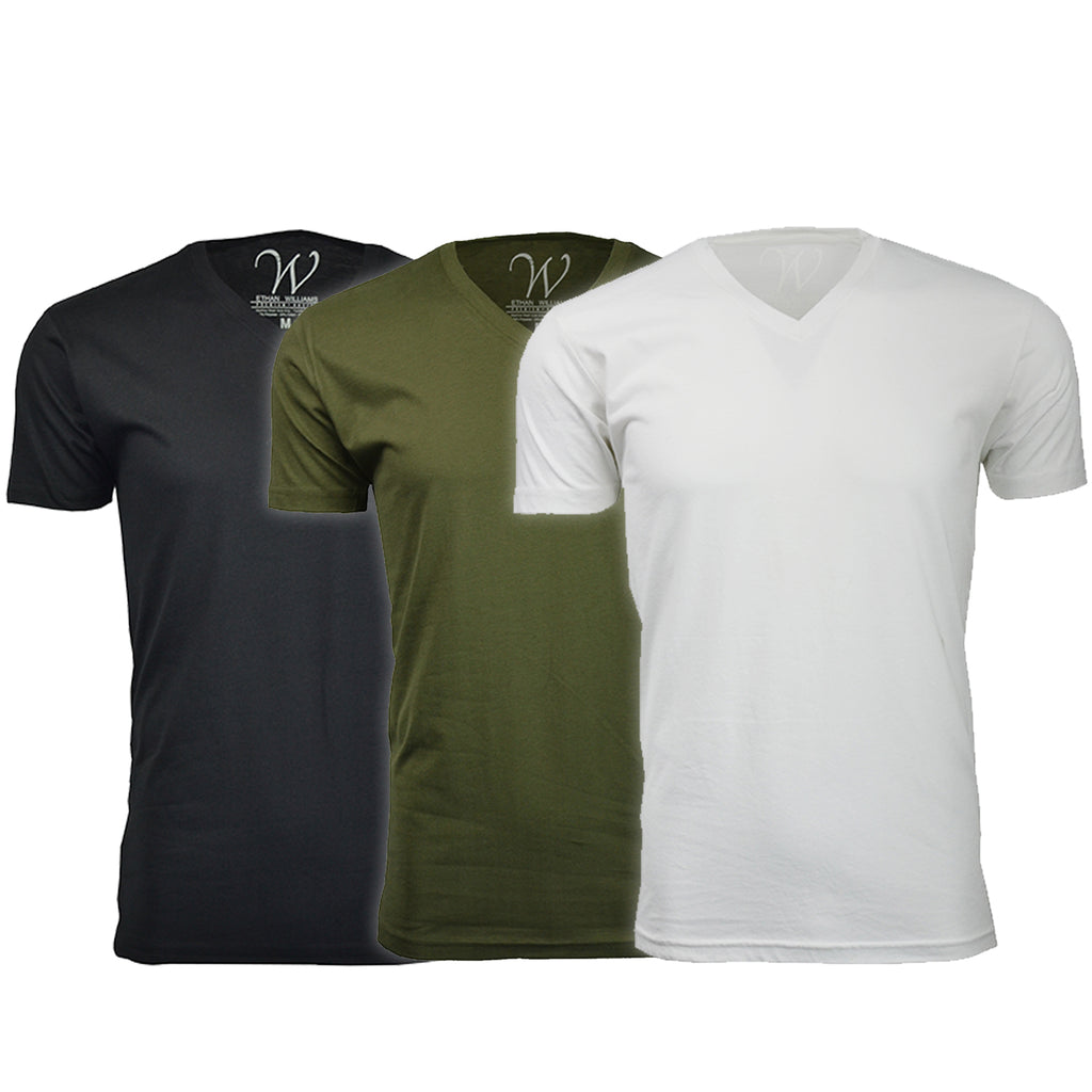 EWC 150BMGW 3-Pack Ultra Soft Sueded V-Neck T-shirt - Black / Military Green / White