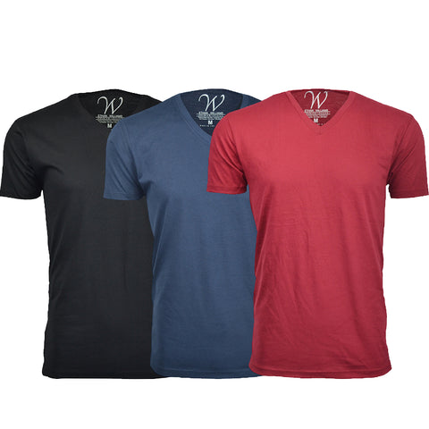 EWC 150BNBG 3-Pack Ultra Soft Sueded V-Neck T-shirt - Black / Navy / Burgundy