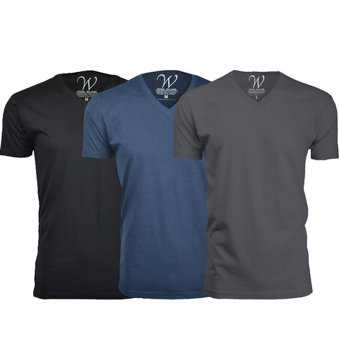 EWC 150BNHM 3-Pack Ultra Soft Sueded V-Neck T-shirt - Black / Navy / Heavy Metal