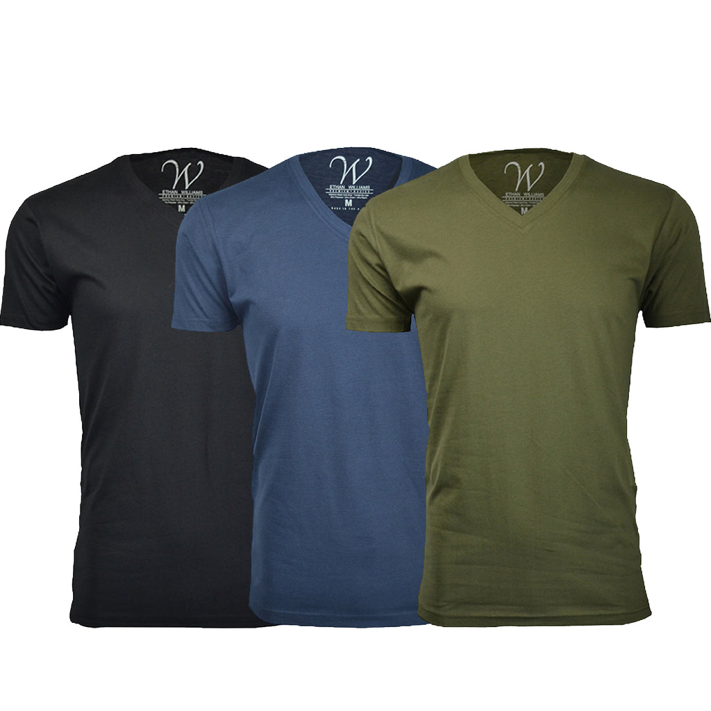 EWC 150BNMG 3-Pack Ultra Soft Sueded V-Neck T-shirt - Black / Navy / Military Green