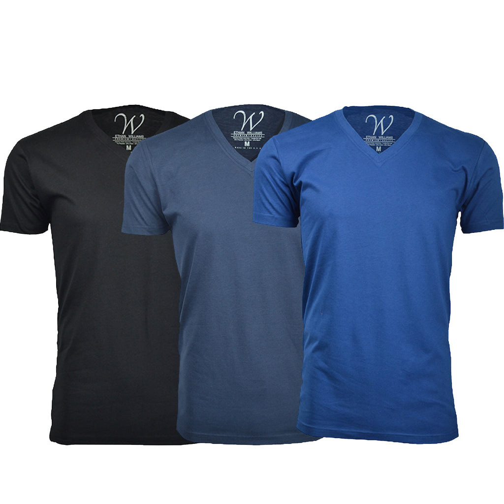 EWC 150BNRB 3-Pack Ultra Soft Sueded V-Neck T-shirt - Black / Navy / Royal Blue