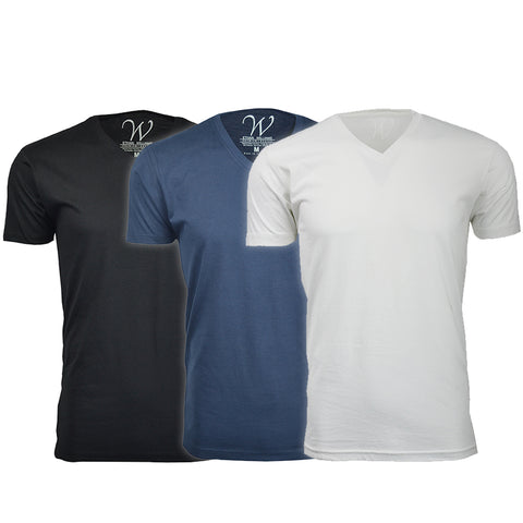 EWC 150BNW 3-Pack Ultra Soft Sueded V-Neck T-shirt - Black / Navy / White