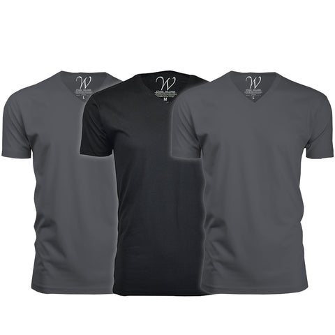 EWC 150HM2B1 3-Pack Ultra Soft Sueded V-Neck T-shirt - Heavy Metal / Heavy Metal / Black