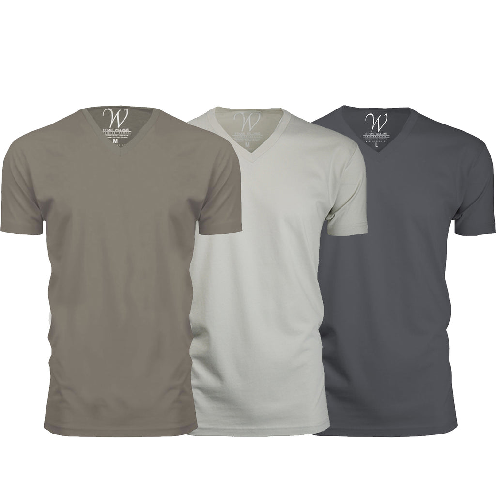 EWC 150HWS 3-Pack Ultra Soft Sueded V-Neck T-shirt - Heavy Metal / Stone / Sand