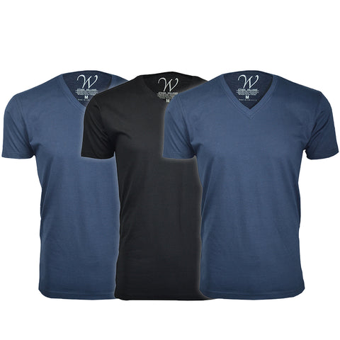 EWC 150N2B1 3-Pack Ultra Soft Sueded V-Neck T-shirt - Navy / Navy / Black