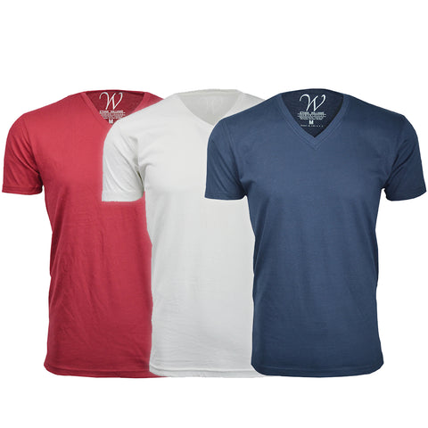 EWC 150RWN 3-Pack Ultra Soft Sueded V-Neck T-shirt - Red / White / Navy