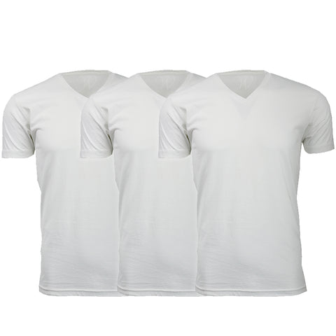 EWC 150WWW 3-Pack Ultra Soft Sueded V-Neck T-shirt - White / White / White