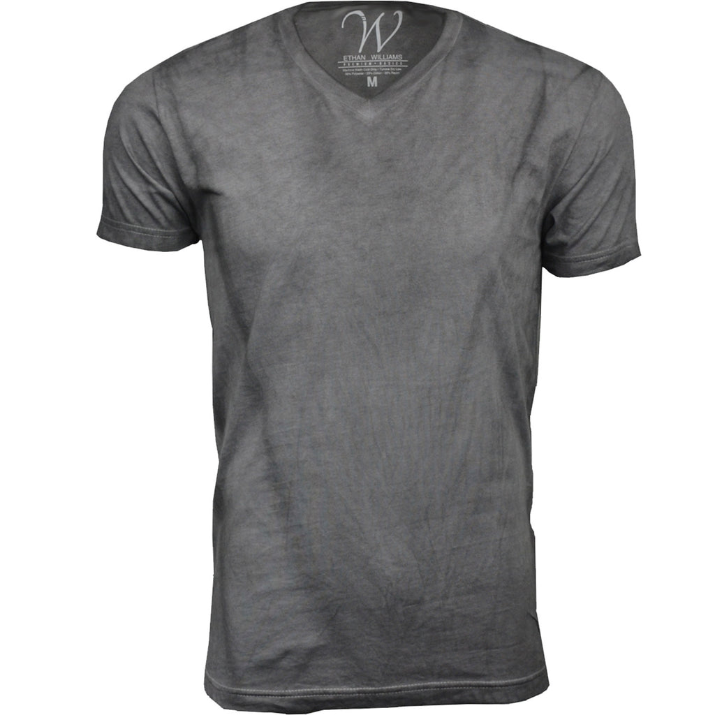 EWC 175G Grey Hand Dyed Ultra Soft Sueded V-Neck T-shirt