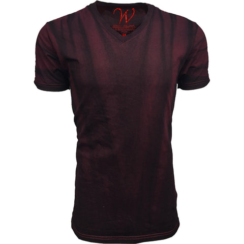 EWC 175VC Vintage Cardinal Hand Dyed Ultra Soft Sueded V-Neck T-shirt