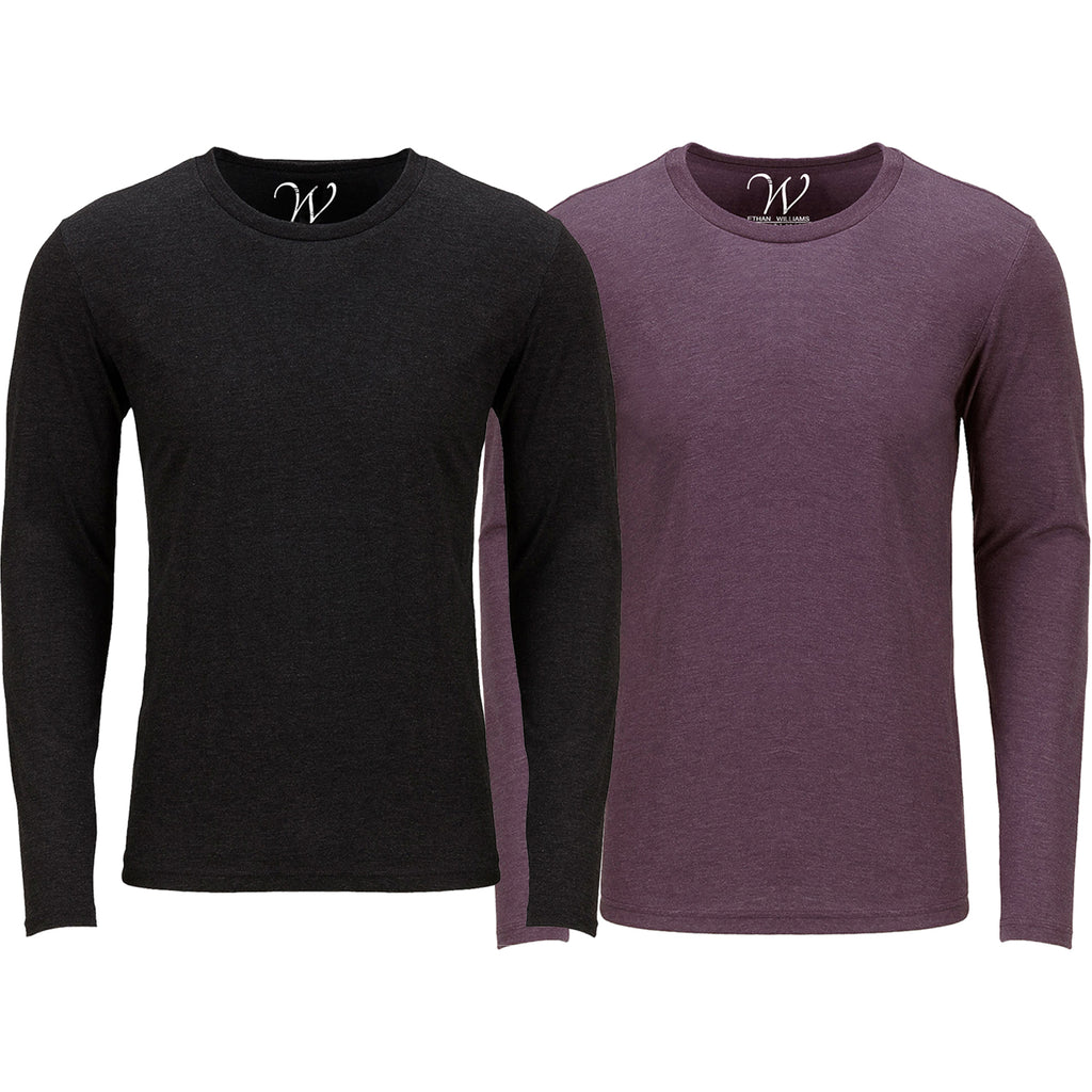 EWC 607BBG 2-Pack Ultra Soft Sueded Long Sleeve - Black / Burgundy