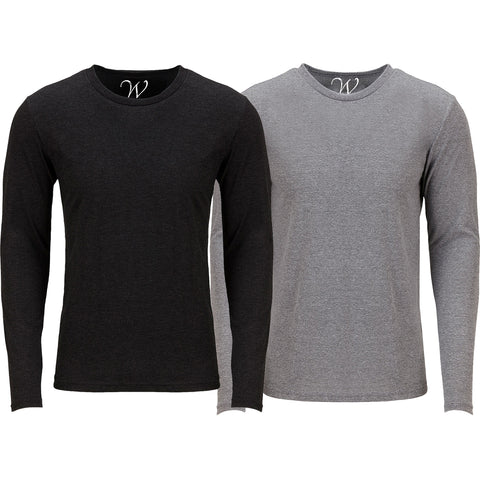 EWC 607BHG 2-Pack Ultra Soft Sueded Long Sleeve - Black / Heather Grey