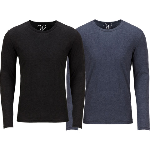 EWC 607BN 2-Pack Ultra Soft Sueded Long Sleeve - Black / Navy