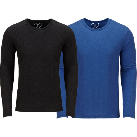 EWC 607BRB 2-Pack Ultra Soft Sueded Long Sleeve - Black / Royal Blue