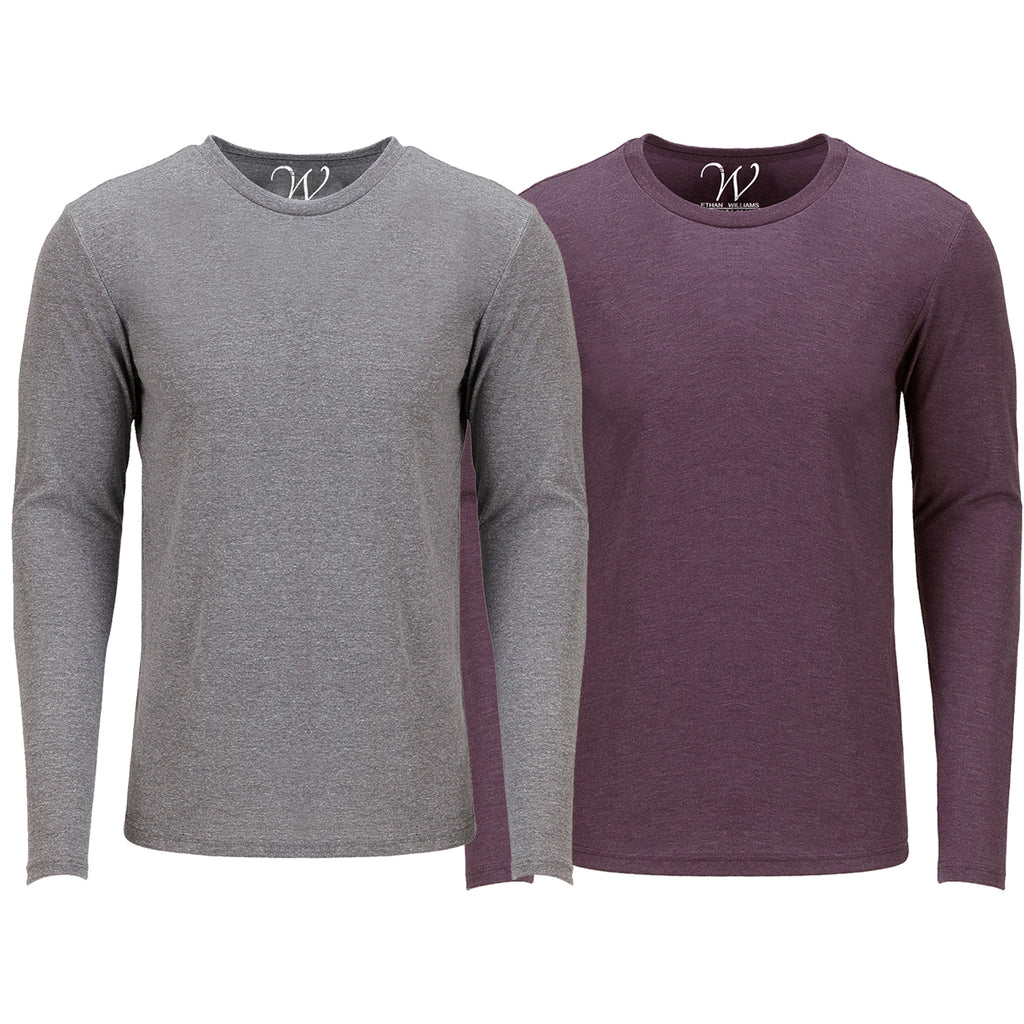 EWC 607HGBG 2-Pack Ultra Soft Sueded Long Sleeve - Heather Grey / Burgundy