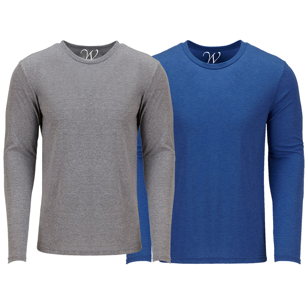 EWC 607HGRB 2-Pack Ultra Soft Sueded Long Sleeve - Heather Grey / Royal Blue