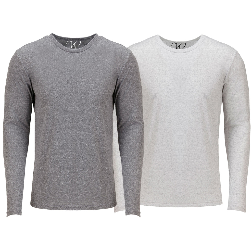 EWC 607HGW 2-Pack Ultra Soft Sueded Long Sleeve - Heather Grey / White
