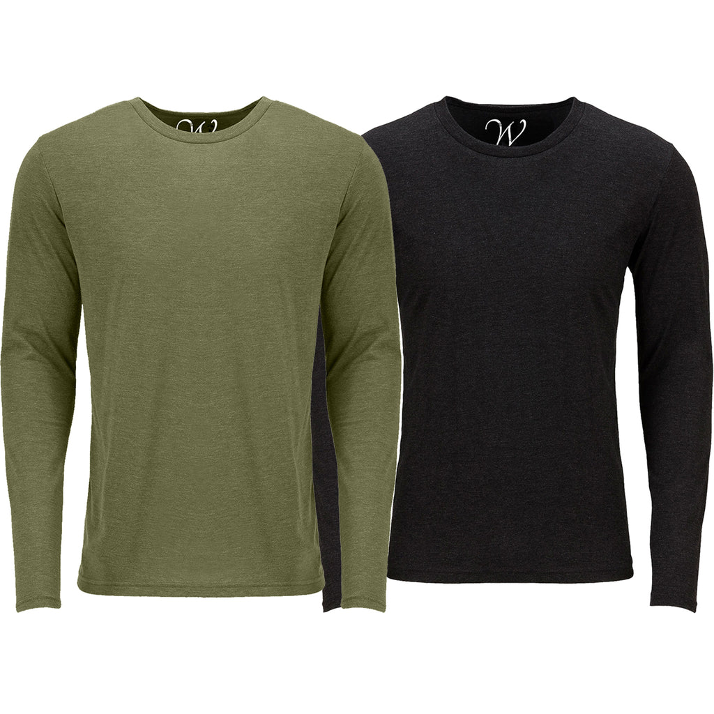 EWC 607MGB 2-Pack Ultra Soft Sueded Long Sleeve - Military Green / Black
