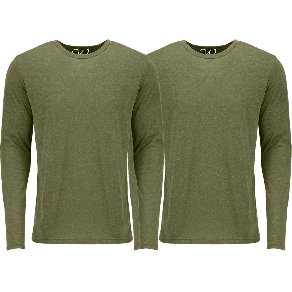 EWC 607MGMG 2-Pack Ultra Soft Sueded Long Sleeve - Military Green / Military Green