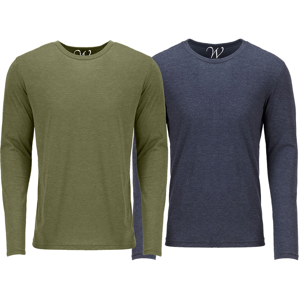 EWC 607MGN 2-Pack Ultra Soft Sueded Long Sleeve - Military Green / Navy