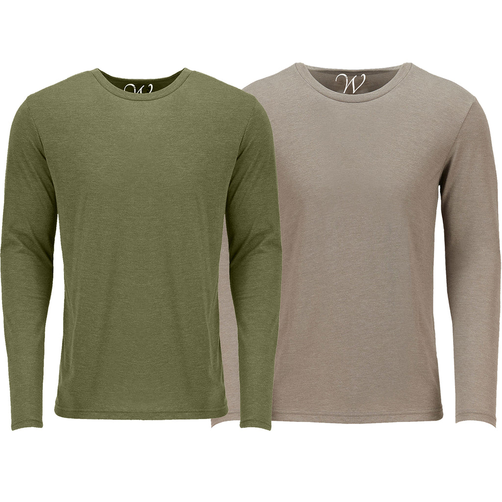 EWC 607MGS 2-Pack Ultra Soft Sueded Long Sleeve - Military Green / Sand