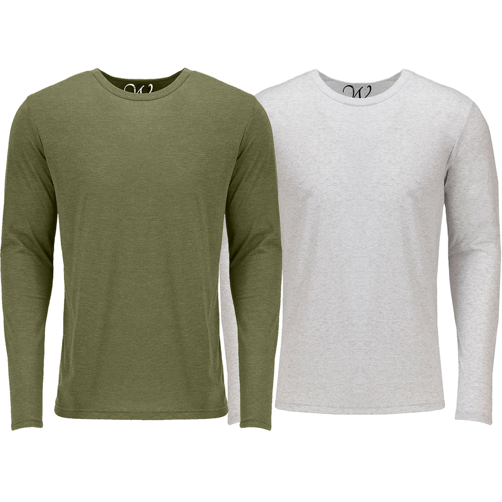 EWC 607MGW 2-Pack Ultra Soft Sueded Long Sleeve - Military Green / White