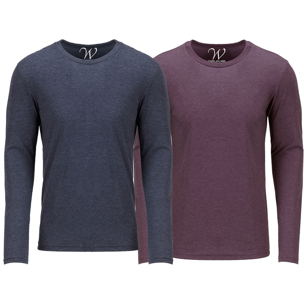 EWC 607NBG 2-Pack Ultra Soft Sueded Long Sleeve - Navy / Burgundy