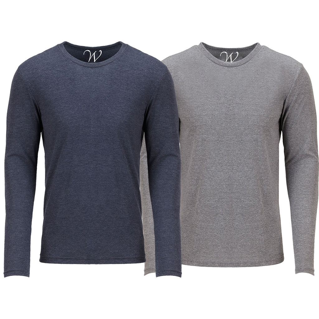 EWC 607NHG 2-Pack Ultra Soft Sueded Long Sleeve - Navy / Heather Grey
