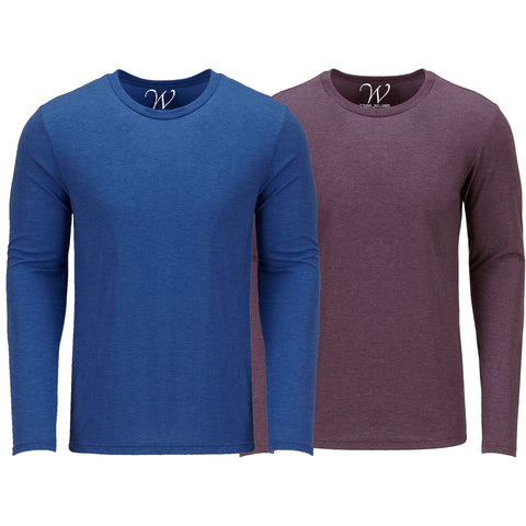 EWC 607RBBG 2-Pack Ultra Soft Sueded Long Sleeve - Royal Blue / Burgundy