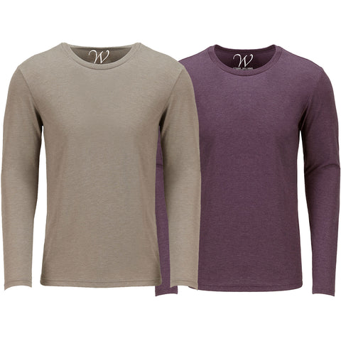 EWC 607SBG 2-Pack Ultra Soft Sueded Long Sleeve - Sand / Burgundy