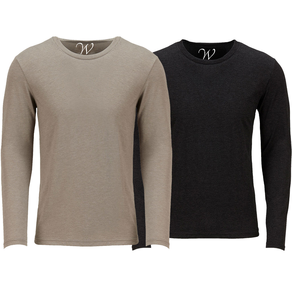 EWC 607SB 2-Pack Ultra Soft Sueded Long Sleeve - Sand / Black
