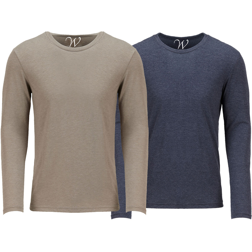 EWC 607SN 2-Pack Ultra Soft Sueded Long Sleeve - Sand / Navy