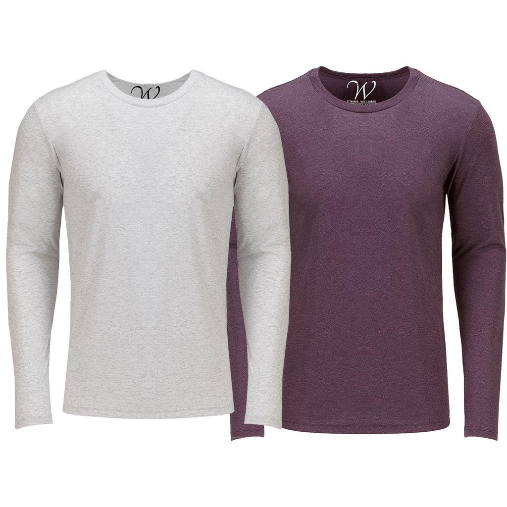 EWC 607WBG 2-Pack Ultra Soft Sueded Long Sleeve - White / Burgundy
