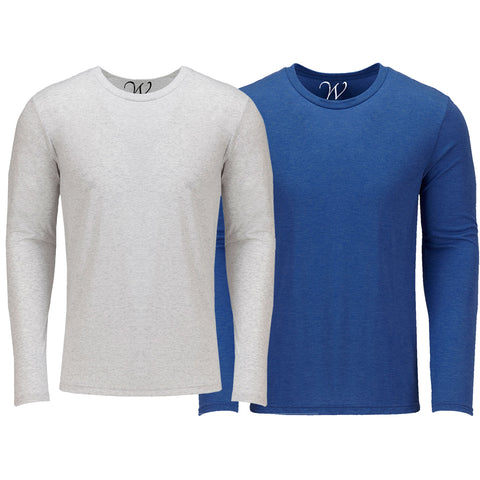 EWC 607WRB 2-Pack Ultra Soft Sueded Long Sleeve - White / Royal Blue