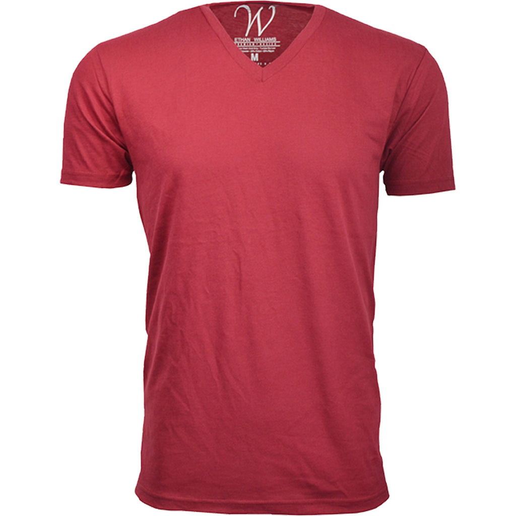 EWC 150BG Burgundy Ultra Soft Sueded V-Neck T-shirt