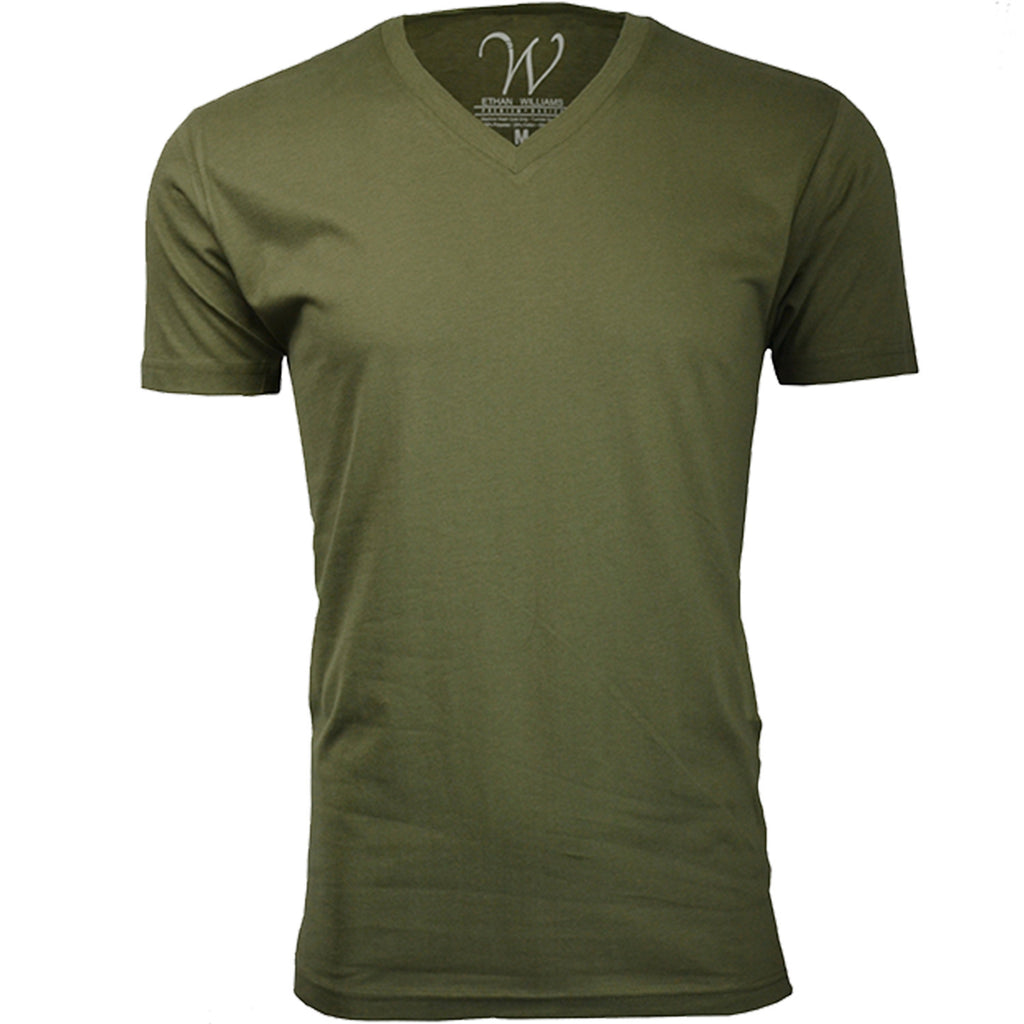 EWC 150MG Military Green Ultra Soft Sueded V-Neck T-shirt