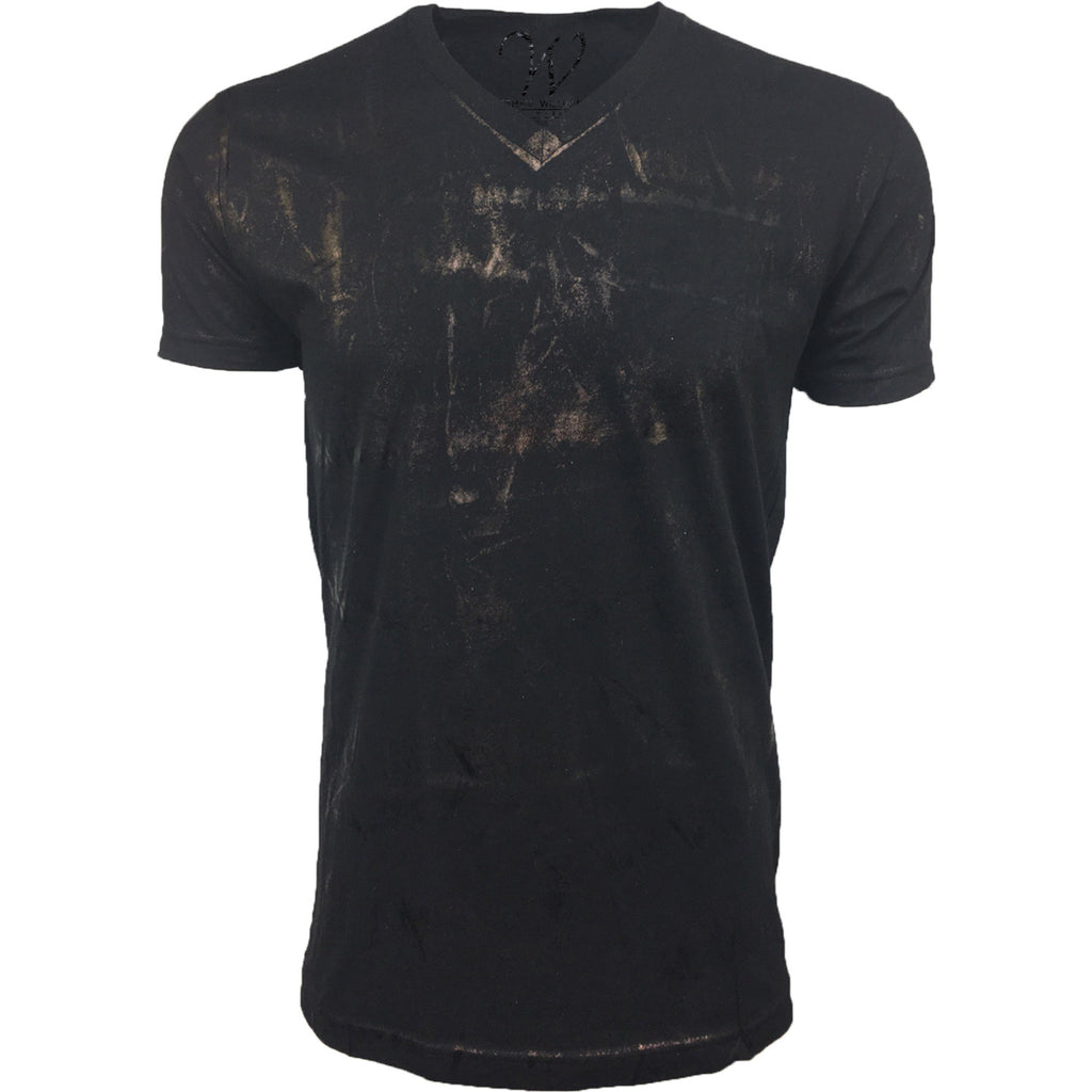 EWC 175BF Metallic Black Hand Dyed Ultra Soft Sueded V-Neck T-shirt
