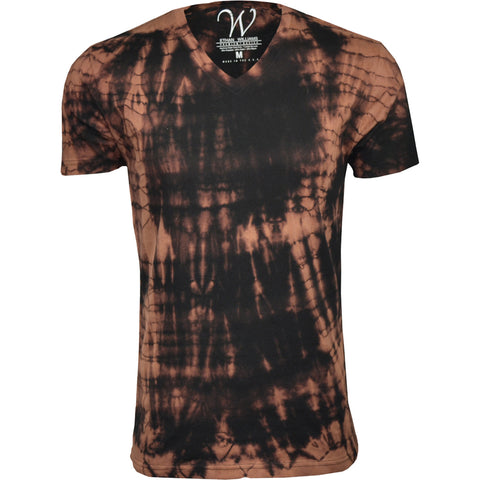 EWC 175B Black/Brown Hand Dyed Ultra Soft Sueded V-Neck T-shirt