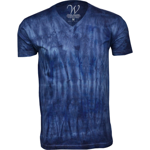 EWC 175N Navy Hand Dyed Ultra Soft Sueded V-Neck T-shirt