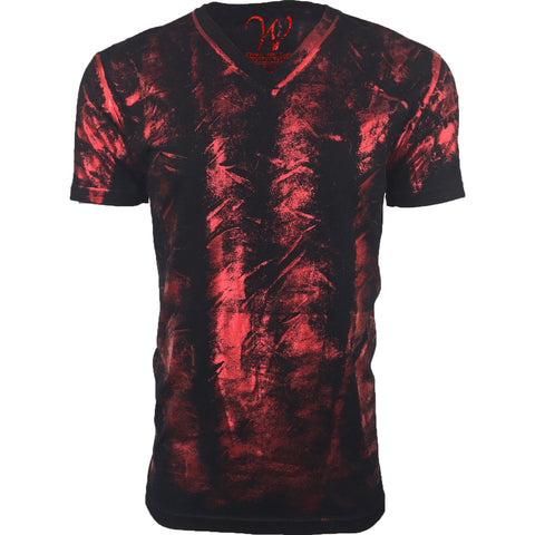 EWC 175RF Metallic Red Hand Dyed Ultra Soft Sueded V-Neck T-shirt