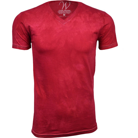 EWC 175R Red Hand Dyed Ultra Soft Sueded V-Neck T-shirt